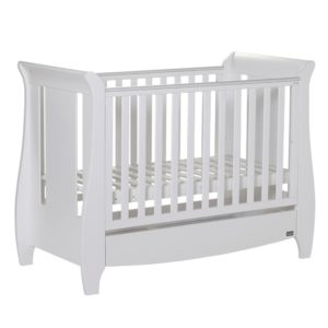 Tutti Bambini Katie Space Saver Sleigh Cot Bed with Under Bed Drawer - White