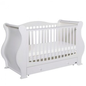 Tutti Bambini Louis/Marie 3 in 1 Deluxe Sleigh Cot Bed with Under Bed Drawer - White