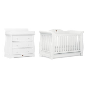 We've added a range of stunning design features to our traditional sleigh style to create the show-stopping Boori Sleigh Royale 2 Piece Room Set - Barley White