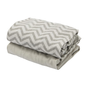 Tutti Bambini CoZee Fitted Sheets 2pk - Chevron/Grey