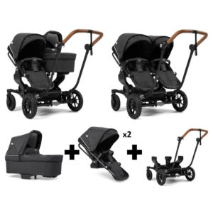 Emmaljunga NXT Double Outdoor Black Chassis 2 Seats 1 Carrycot Lounge Black