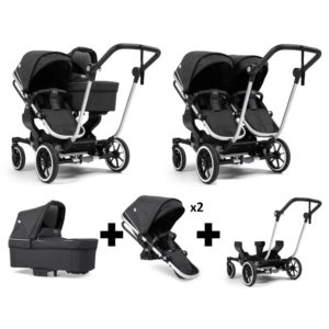 Emmaljunga NXT Double Silver Chassis 2 Seats 1 Carrycot Lounge Black