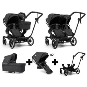 Emmaljunga NXT Double Black Chassis 2 Seats 1 Carrycot Lounge Black