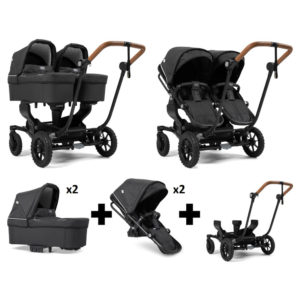 Emmaljunga NXT Twin Outdoor Black Chassis 2 Seats 2 Carrycots Lounge Black