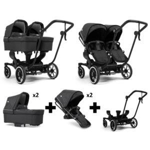 Emmaljunga NXT Twin Black Chassis 2 Seats 2 Carrycots Lounge Black