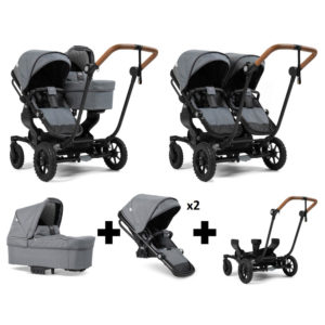 Emmaljunga NXT Double Outdoor Black Chassis 2 Seats 1 Carrycot Lounge Grey