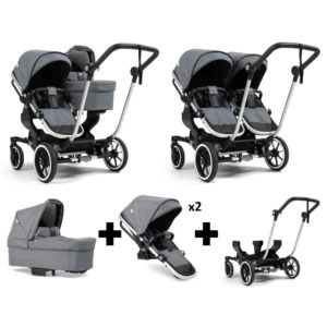 Emmaljunga NXT Double Silver Chassis 2 Seats 1 Carrycot