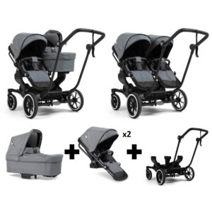 Emmaljunga NXT Double Black Chassis 2 Seats 1 Carrycot Lounge Grey
