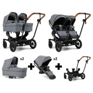 Emmaljunga NXT Twin Outdoor Black Chassis 2 Seats 2 Carrycots Lounge Grey