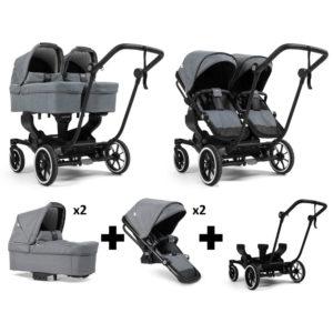 Emmaljunga NXT Twin Black Chassis 2 Seats 2 Carrycots Lounge Grey