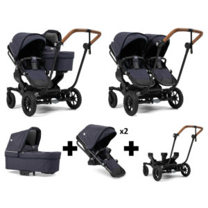 Emmaljunga NXT Double Outdoor Black Chassis 2 Seats 1 Carrycot Lounge Navy