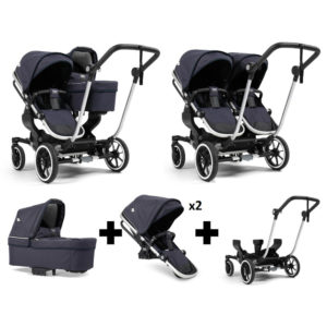 Emmaljunga NXT Double Silver Chassis 2 Seats 1 Carrycot Lounge Navy