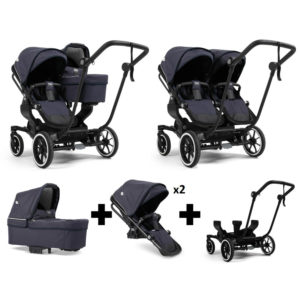 Emmaljunga NXT Double Black Chassis 2 Seats 1 Carrycot Lounge Navy