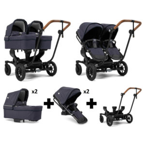 Emmaljunga NXT Twin Outdoor Black Chassis 2 Seats 2 Carrycots Lounge Navy