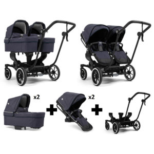 Emmaljunga NXT Twin Black Chassis 2 Seats 2 Carrycots Lounge Navy