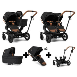 Emmaljunga NXT Double Outdoor Black Chassis 2 Seats 1 Carrycot Outdoor Black