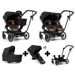 Emmaljunga NXT Double Black Chassis 2 Seats 1 Carrycot Outdoor Black