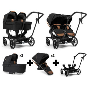 Emmaljunga NXT Twin Black Chassis 2 Seats 2 Carrycots Outdoor Black