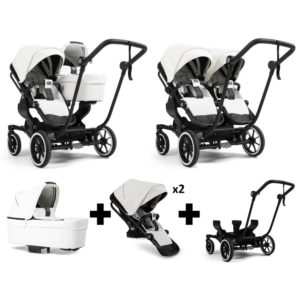 Emmaljunga NXT Double Black Chassis 2 Seats 1 Carrycot White Leatherette