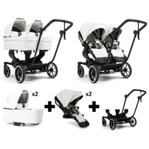 Emmaljunga NXT Twin Black Chassis 2 Seats 2 Carrycots White Leatherette