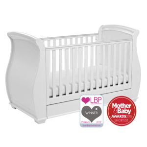Babymore Bel Sleigh Cot Bed Drop Side with Drawer - White