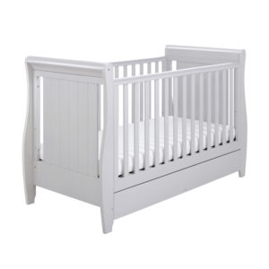 Babymore Stella Cot Bed Drop Side with Drawer - Grey