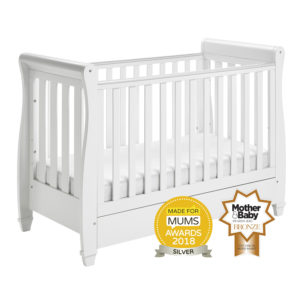 Babymore Eva Sleigh Cot Bed Drop Side with Drawer - White