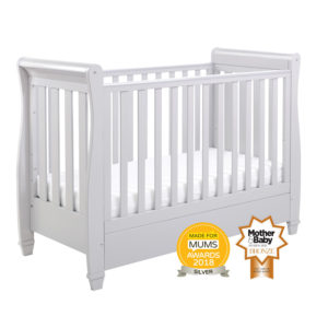Babymore Eva Sleigh Cot Bed Drop Side with Drawer - Grey
