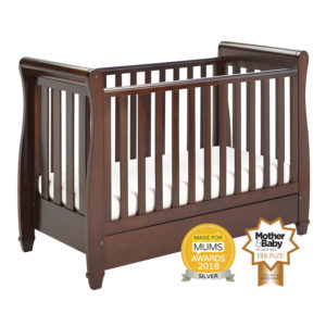 Babymore Eva Sleigh Cot Bed Drop Side with Drawer - Brown