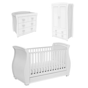 Babymore Bel White Room Set 3 Pieces - Cot Bed and Chest Changer and Wardrobe