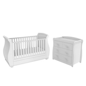 Babymore Bel White Room Set 2 Pieces - Cot Bed and Chest Changer