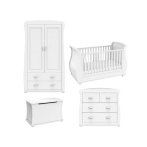 Babymore Bel White Room Set 4 Pieces - Cot Bed and Chest Changer and Wardrobe and ToyBox