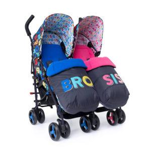 Cosatto Supa Dupa Twin Stroller Sis & Bro 6