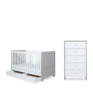 Ickle Bubba Pembrey Cot Bed with Drawer and Tall Chest
